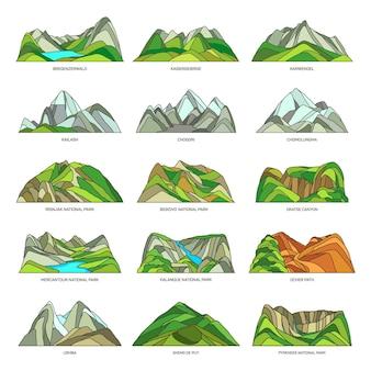 Conjunto de paisagens naturais de montanha ou rocha