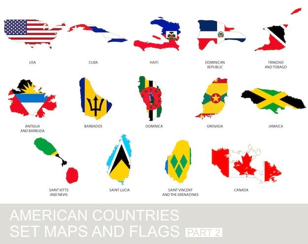 Conjunto de países americanos, mapas e bandeiras, parte 2