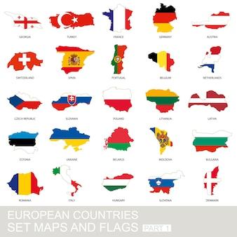 Conjunto de países europeus, mapas e bandeiras, parte 1