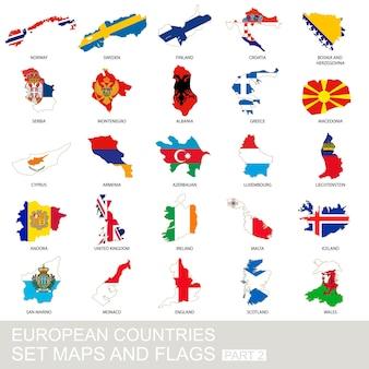 Conjunto de países europeus, mapas e bandeiras, parte 2