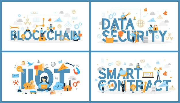 Conjunto de palavra de tecnologia digital com pessoas ao redor. blockchain e segurança de dados, internet das coisas e contrato inteligente. conexão em nuvem entre computadores. ilustração em vetor plana