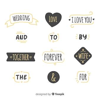 Conjunto de palavras de ordem de casamento adorável mão desenhada
