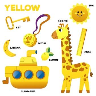 Conjunto de palavras e elementos amarelos em inglês