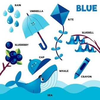 Conjunto de palavras e elementos azuis em inglês