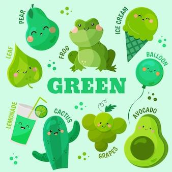 Conjunto de palavras e elementos verdes em inglês