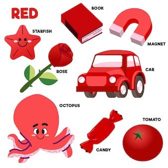 Conjunto de palavras e elementos vermelhos em inglês
