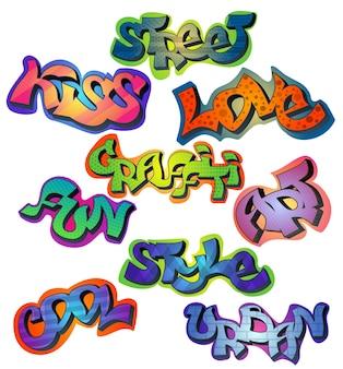 Conjunto de palavras graffiti