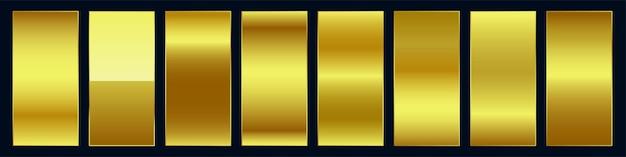 Conjunto de paleta de amostra de gradiente dourado suave e premium