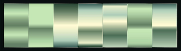 Conjunto de paletas de amostra gradiente de prata ou verde platina premium