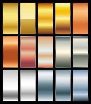 Conjunto de paletas de amostras de gradiente dourado suave e premium fundo de vetor de ouro platina bronze co