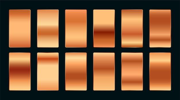 Conjunto de paletas de amostras gradientes de cobre ou ouro rosa