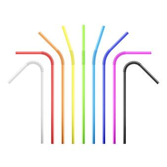 Conjunto de palha de coquetel flexível colorido arco-íris.