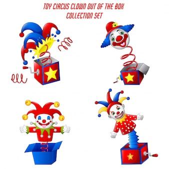 Conjunto de palhaço de circo de brinquedo fora de uma caixa