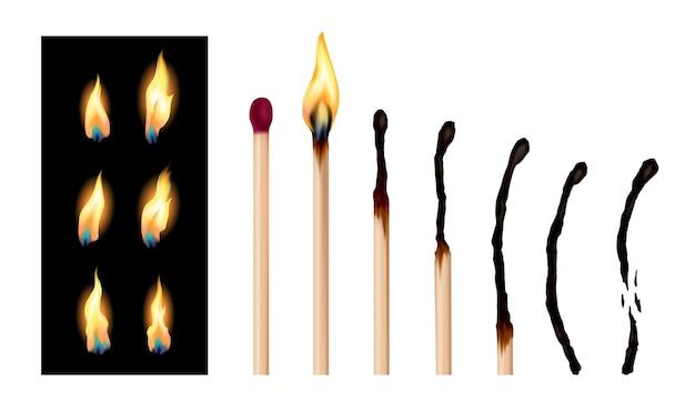 Conjunto de palitos de fósforo com sequência de gravação. fósforos de madeira em diferentes estágios queimando e brilhando em vermelho, apagados e completamente queimados. ilustração vetorial realista abstrata Vetor Premium
