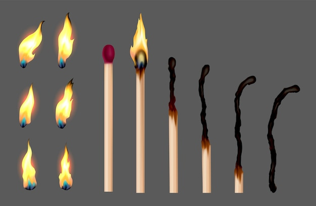 Conjunto de palitos de fósforo com sequência de gravação. fósforos de madeira em diferentes estágios queimando e brilhando em vermelho, apagados e completamente queimados. ilustração vetorial realista abstrata
