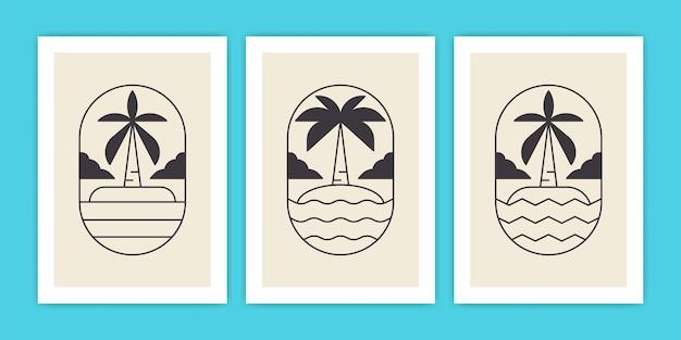 Conjunto de palmeira abstrata e ilustração de pôster de praia ou oceano