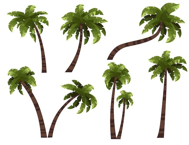 Conjunto de palmeiras com ilustração vetorial plana de troncos diferentes, isolado no fundo branco.
