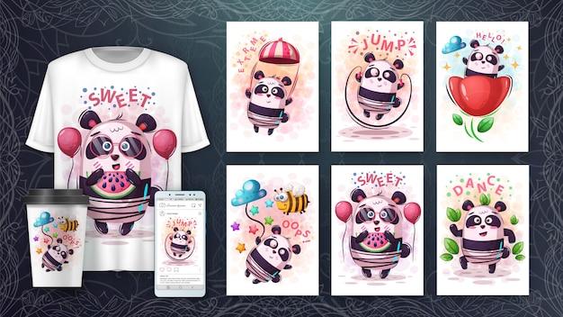 Conjunto de panda bonito cartaz e merchandising