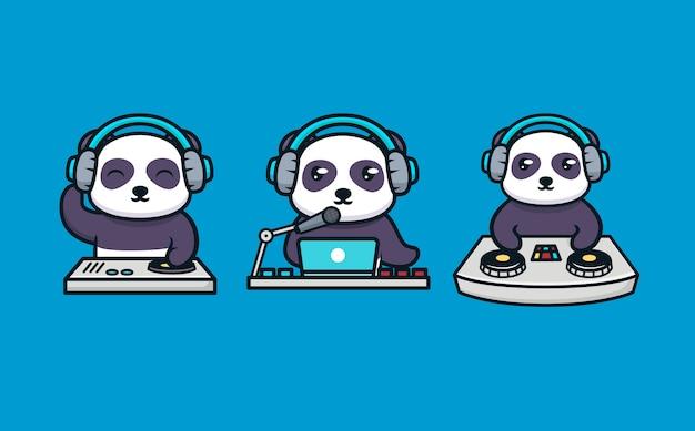 Conjunto de panda fofo com equipamento de dj
