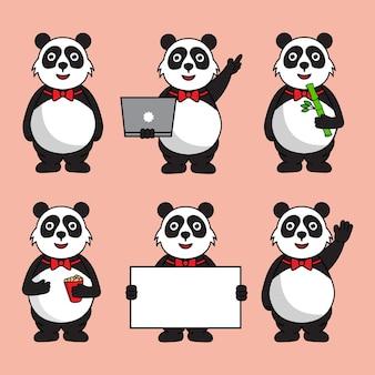 Conjunto de panda gordo fofo com diferentes poses