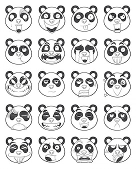 Conjunto de panda rosto emoticon contorno ilustração vector