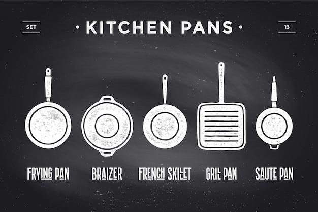 Conjunto de panelas de cozinha. poster utensílios de cozinha - frigideiras, grelha, pote