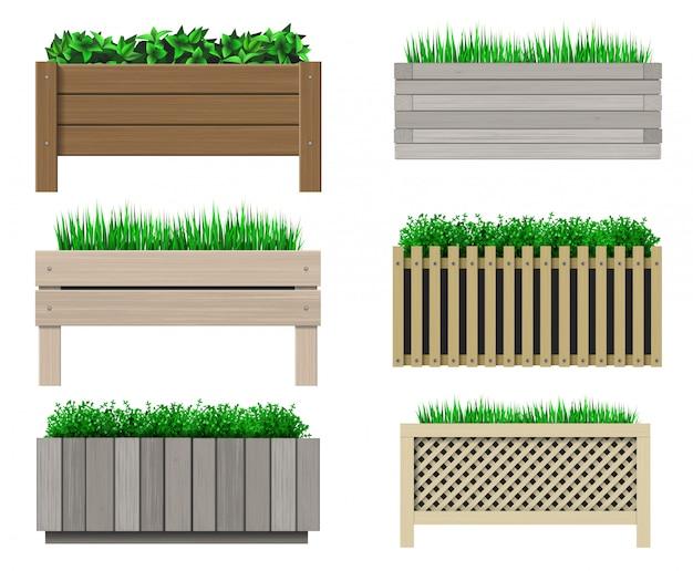 Conjunto de panelas de madeira para plantas