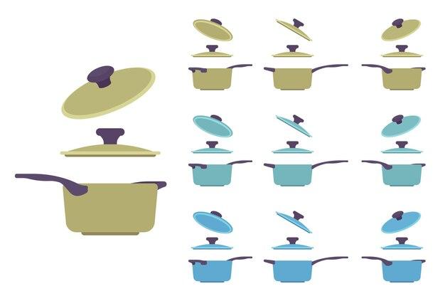 Conjunto de panelas, utensílios de cozinha