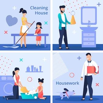 Conjunto de panfleto brilhante escrito limpeza trabalho doméstico de casa.