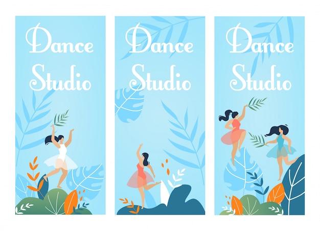 Conjunto de panfleto de convite de estúdio de dança em natureza design