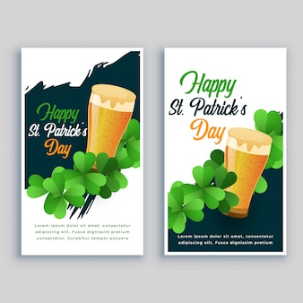 Conjunto de panfleto de feliz saint patricks dia