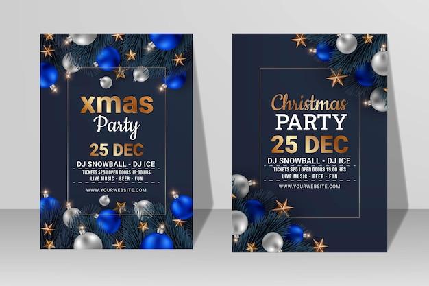 Conjunto de panfleto de festa de natal ou modelo de design de pôster