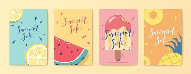 Conjunto de panfleto de frutas e picolé
