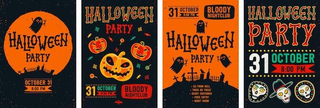 Conjunto de panfleto de halloween.