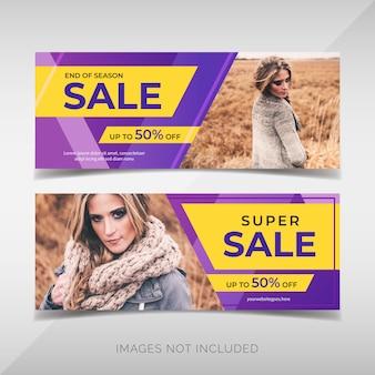Conjunto de panfleto de promoção de venda