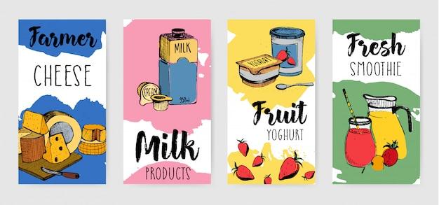 Conjunto de panfleto de publicidade vertical de produtos lácteos coloridos.