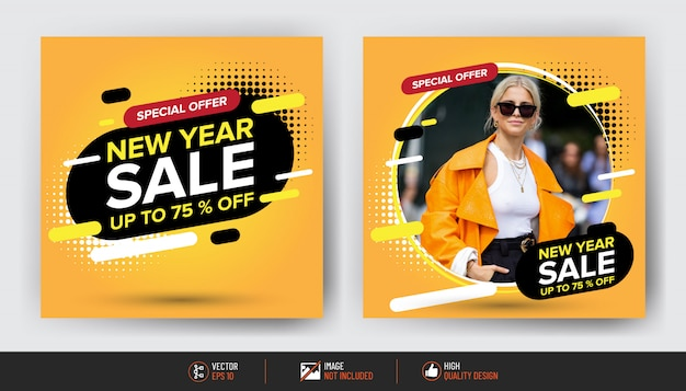 Conjunto de panfleto de venda de ano novo