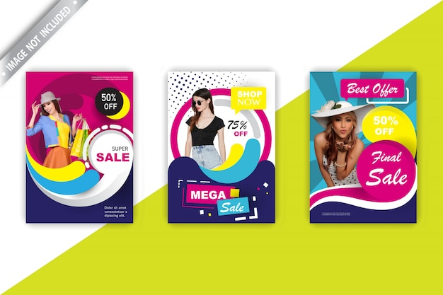 Conjunto de panfleto de vendas de moda