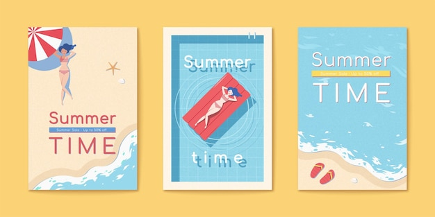 Conjunto de panfleto de verão na praia
