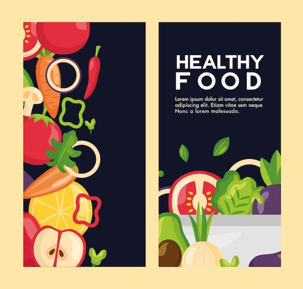 Conjunto de panfleto fresco de comida saudável