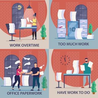 Conjunto de panfleto informativo é escrito horas extras de trabalho.