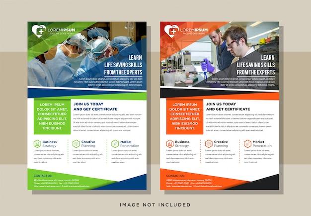 Conjunto de panfleto médico abstrato com layout vertical e fundo branco. desenhos de elementos de cores verde, azul, laranja e preto. espaço para foto.