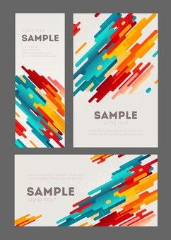 Conjunto de panfleto minimalista abstrato com elementos geométricos.