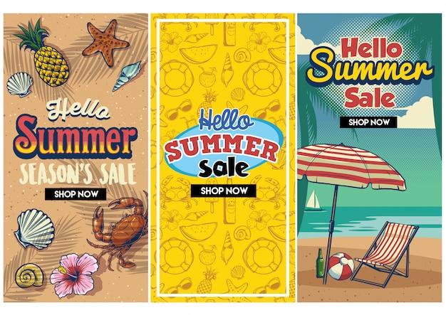 Conjunto de panfleto retrô de venda de verão