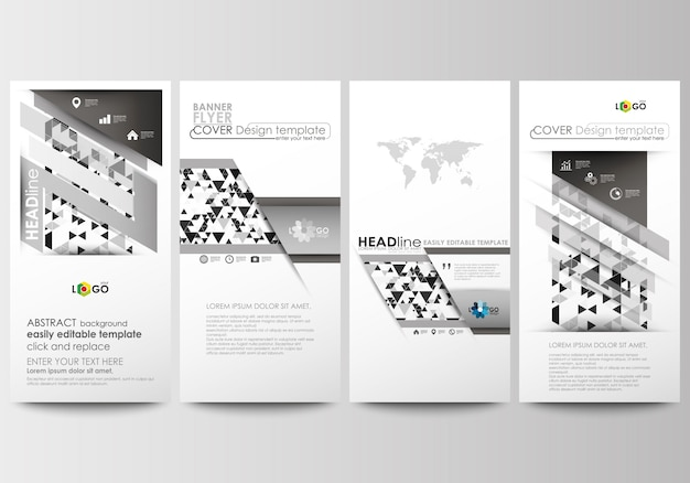 Conjunto de panfletos, banners modernos. modelos de negócios. modelo de capa