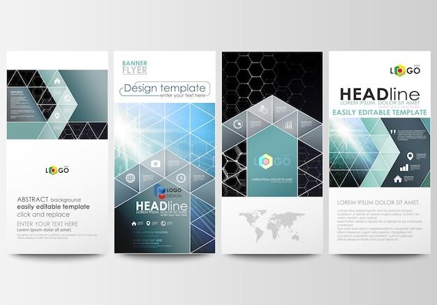 Conjunto de panfletos, banners modernos. modelos de negócios. modelo de design de capa, fácil layouts vetoriais editáveis.