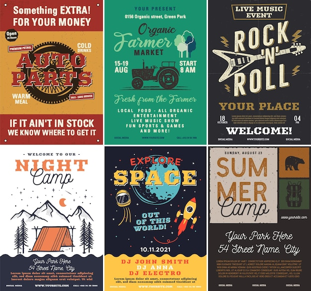 Conjunto de panfletos de acampamento ao ar livre e música rock, formato a4. design gráfico de cartazes de aventura. vetor