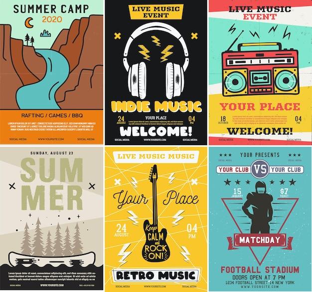 Conjunto de panfletos de acampamento ao ar livre e música rock, formato a4. vetor