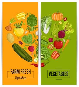 Conjunto de panfletos de agricultura de vegetais orgânicos