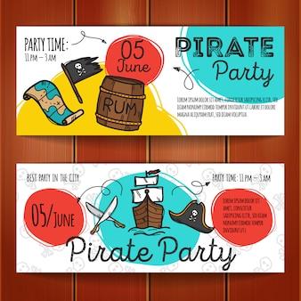 Conjunto de panfletos de festa do pirata
